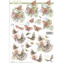 Feuille 3D à découper A4 Fleurs Papillons