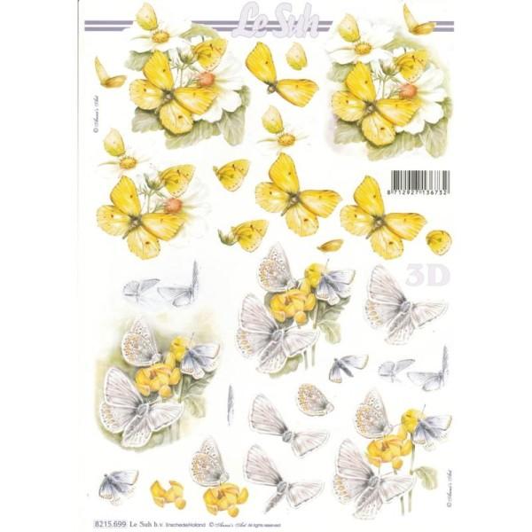 Feuille 3D à découper A4 Fleurs Papillons - Photo n°1