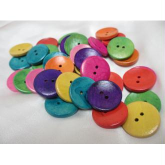 Lot de 30 grands boutons bois fantaisies,multicolores