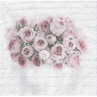 4 Serviettes en papier Bouquet de Roses Format Lunch