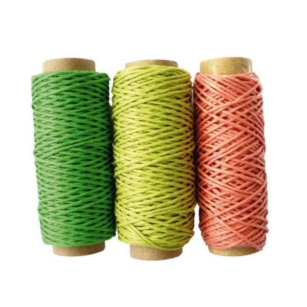 Lot de 3 Bobines en Chanvre Vert foret, Vert clair, Orange, 3 x 20m, pour tressages de bracelets, cr - Photo n°1