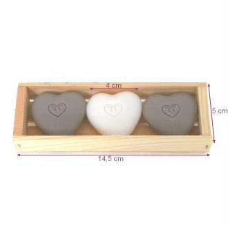 Set de 3 Savons en forme de Coeur à la Fleur de Coton, 14,5 x 4 cm, 3 x 20 gr, déco romantique