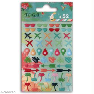Stickers epoxy Toga - Lunettes, avions, palmiers - Tropical Paradise - 52 pcs