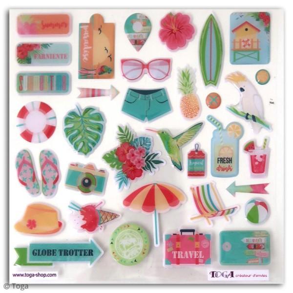 Stickers 3D epoxy - Tropical Paradise - 34 pcs - Photo n°1