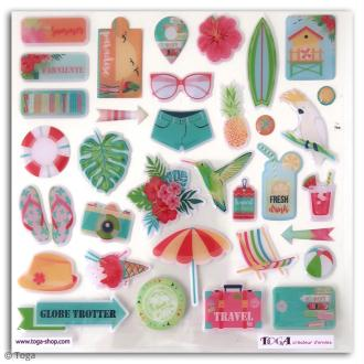 Stickers 3D epoxy - Tropical Paradise - 34 pcs