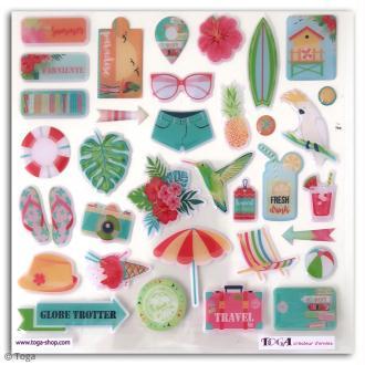 Stickers 3D epoxy - Tropical Paradise - 34 pcs