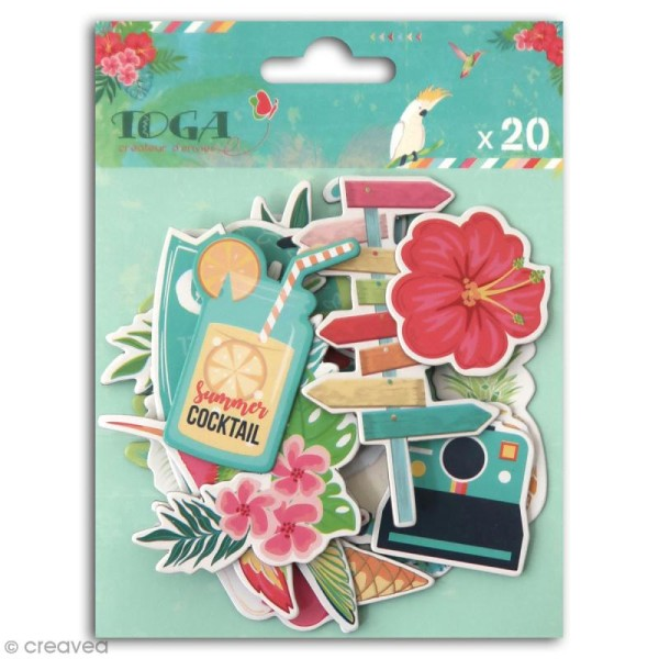 Chipboard Carton - Tropical Paradise - 20 pcs - Photo n°1