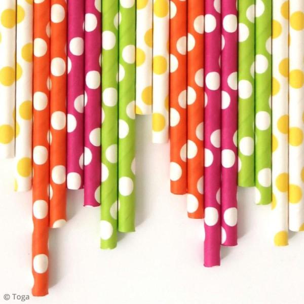Pailles 19,5 cm - Jaune, vert, orange, fuchsia - 24 pcs - Photo n°2