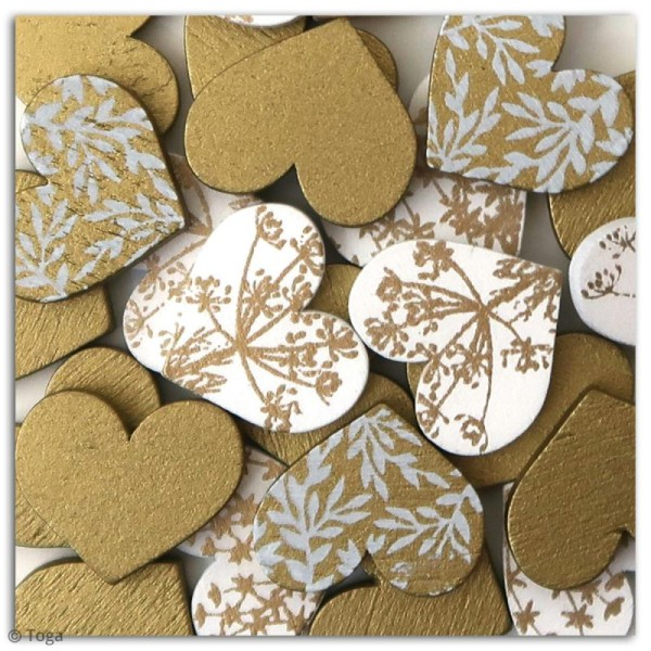 Assortiment de formes en bois - Coeur dorés - 25 pcs - Photo n°2