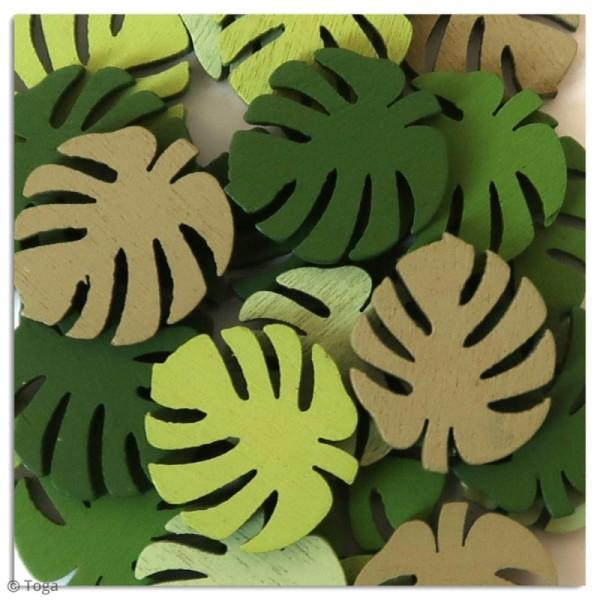 Assortiment de formes en bois - Feuilles tropicales - 25 pcs - Photo n°2