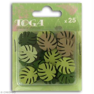 Assortiment de formes en bois - Feuilles tropicales - 25 pcs