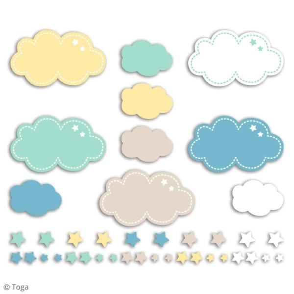 Die cuts à assembler - Léonard et Joséphine - Nuage bleu et jaune - 20 formes en papier - Photo n°2