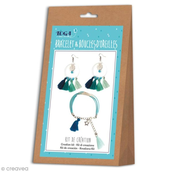 Kit bijou Bracelet et boucles d'oreilles Ice Toga - Pompons - Photo n°1