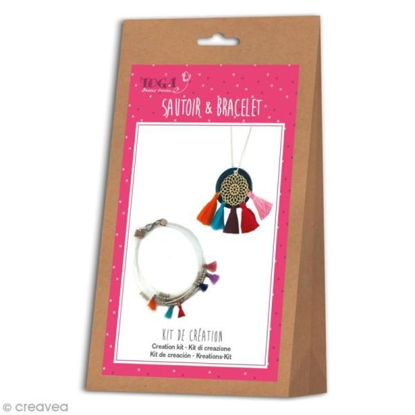 Kit bijou Sautoir et bracelet Bohème Toga - Pompons - Photo n°1
