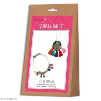 Kit bijou Sautoir et bracelet Bohème Toga - Pompons