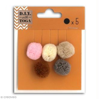 Set de mini pompons ronds - Nude - 2 cm - 5 pcs