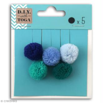 Set de mini pompons ronds - Ice - 2 cm - 5 pcs