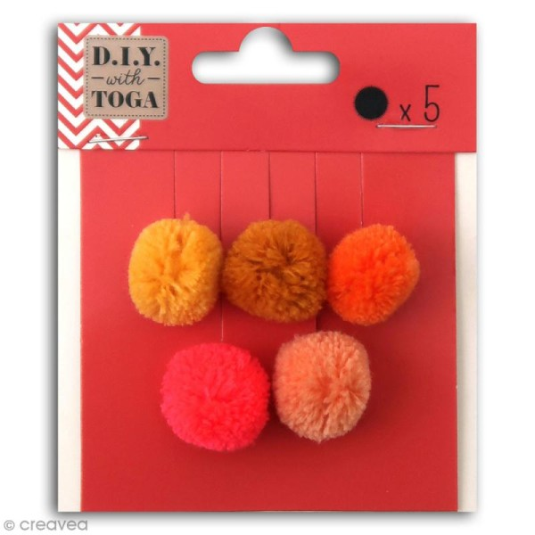 Set de mini pompons ronds - Juicy - 2 cm - 5 pcs - Photo n°1