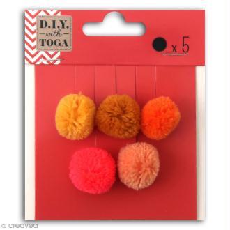 Set de mini pompons ronds - Juicy - 2 cm - 5 pcs