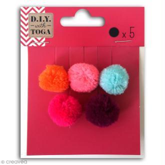 Set de mini pompons ronds - Bohème - 2 cm - 5 pcs