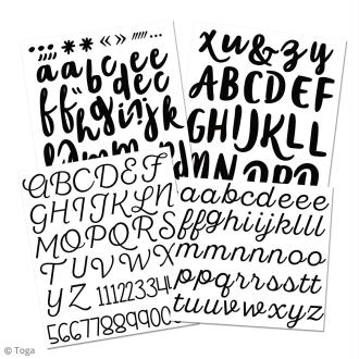 Stickers alphabet flex thermocollant - Noir - Multi typographies - 180 pcs