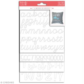 Stickers alphabet flex thermocollant - Blanc - Multi typographies - 180 pcs
