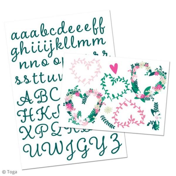 Stickers flex thermocollant - Alphabet vert - coeurs fleuris - Photo n°2