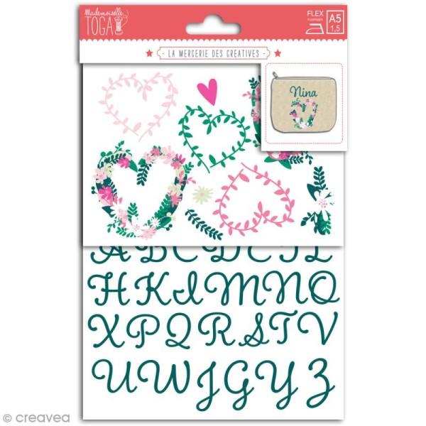 Stickers flex thermocollant - Alphabet vert - coeurs fleuris - Photo n°1