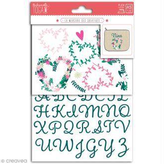 Stickers flex thermocollant - Alphabet vert - coeurs fleuris