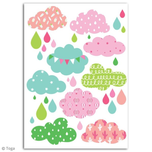 Stickers flex thermocollant - Nuages roses - Photo n°2