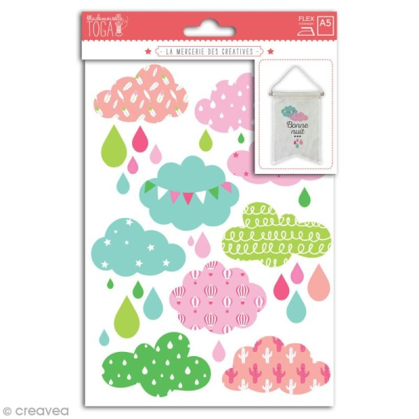Stickers flex thermocollant - Nuages roses - Photo n°1