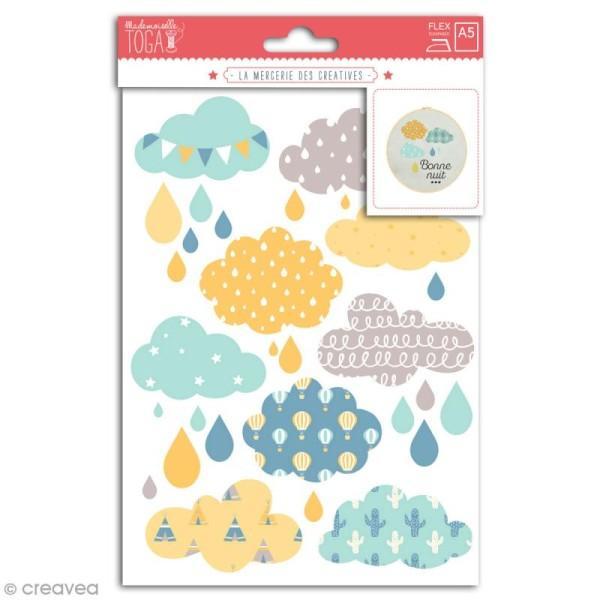 Stickers flex thermocollant - Nuages bleus - Photo n°1