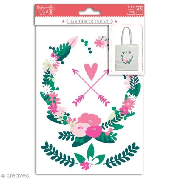 Stickers flex thermocollant - Couronne de fleurs - Photo n°1