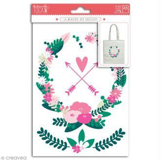 Stickers flex thermocollant - Couronne de fleurs