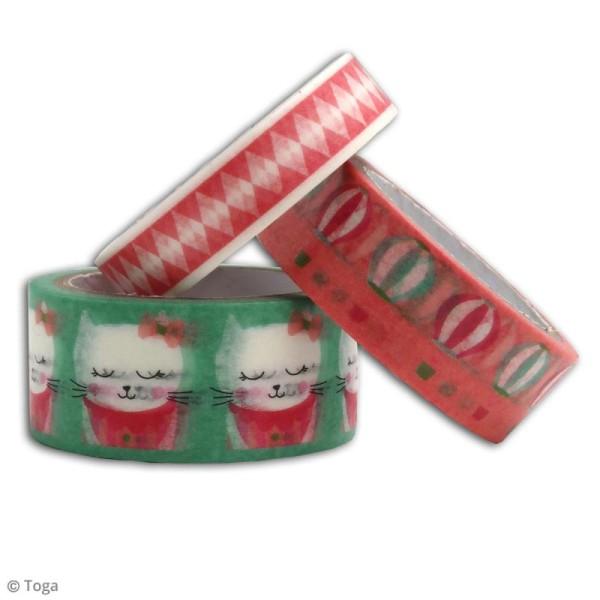 Masking tape Toga Léonard et Joséphine - Petit chat rose - 3 rouleaux - Photo n°2