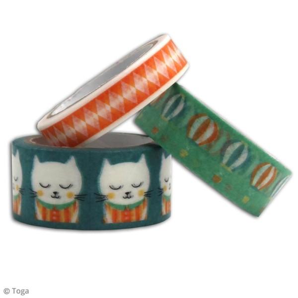 Masking tape Toga Léonard et Joséphine - Petit chat bleu - 3 rouleaux - Photo n°2