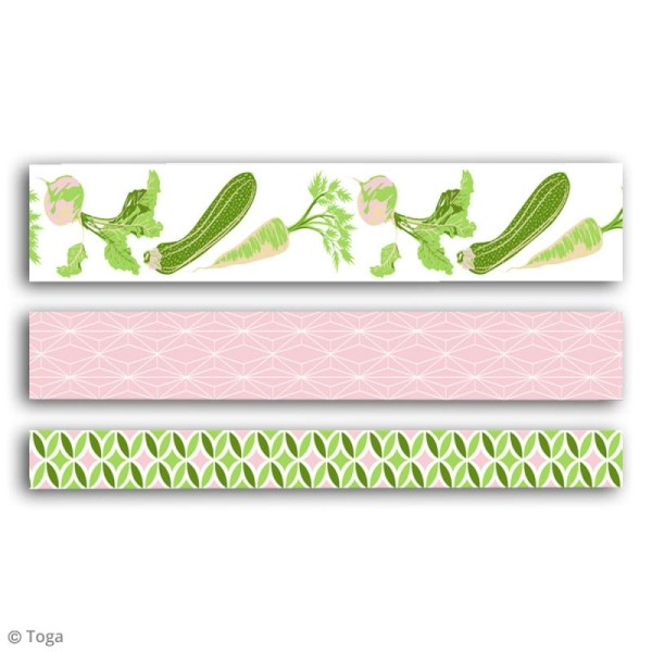 Masking tape Toga Oh my Green - Légumes - 3 rouleaux - Photo n°2