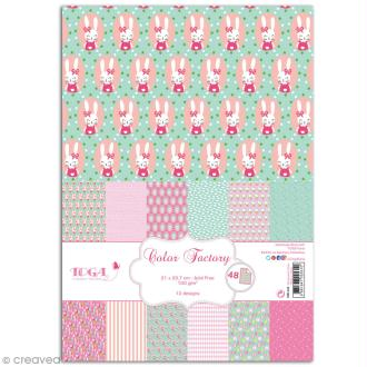 Papier scrapbooking Toga - Color factory - Léonard et Joséphine - Joséphine - 48 feuilles A4