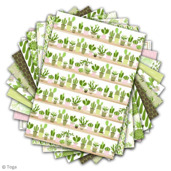 Papier scrapbooking Toga - Color factory - Oh my Green - Légumes - 48 feuilles A4 - Photo n°2