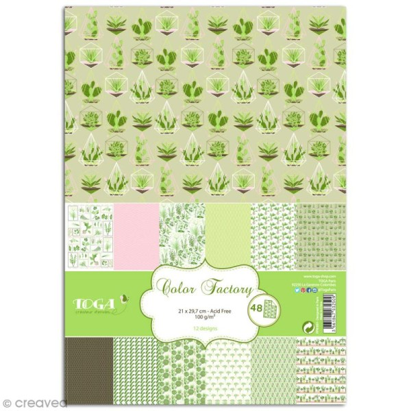 Papier scrapbooking Toga - Color factory - Oh my Green - Légumes - 48 feuilles A4 - Photo n°1