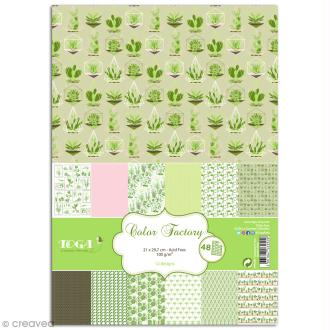 Papier scrapbooking Toga - Color factory - Oh my Green - Légumes - 48 feuilles A4