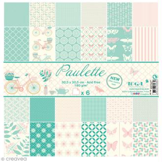 Papier scrapbooking Toga - Paulette - Papillons et bicyclettes - 30,5 x 30,5 cm - 6 feuilles