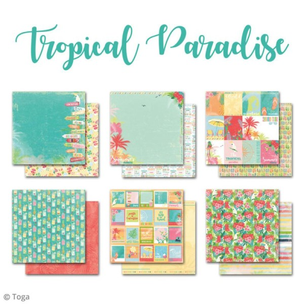 Papier scrapbooking Toga - Tropical Paradise - Cocktails et perroquets - 30,5 x 30,5 cm - 6 feuilles - Photo n°2