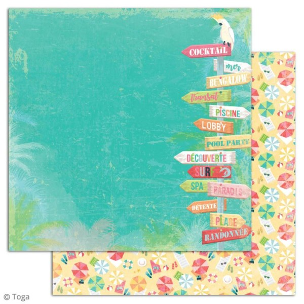 Papier scrapbooking Toga - Tropical Paradise - Cocktails et perroquets - 30,5 x 30,5 cm - 6 feuilles - Photo n°3