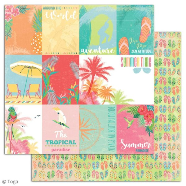 Papier scrapbooking Toga - Tropical Paradise - Cocktails et perroquets - 30,5 x 30,5 cm - 6 feuilles - Photo n°4