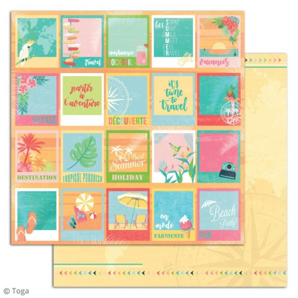 Papier scrapbooking Toga - Tropical Paradise - Cocktails et perroquets - 30,5 x 30,5 cm - 6 feuilles - Photo n°6