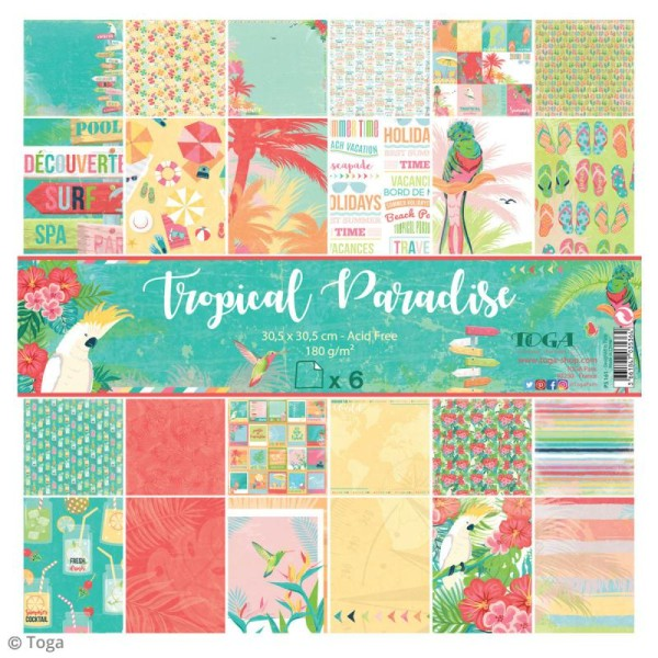 Papier scrapbooking Toga - Tropical Paradise - Cocktails et perroquets - 30,5 x 30,5 cm - 6 feuilles - Photo n°1