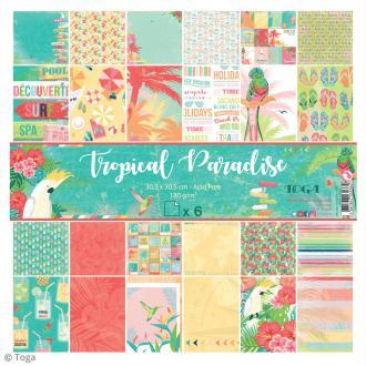 Papier scrapbooking Toga - Tropical Paradise - Cocktails et perroquets - 30,5 x 30,5 cm - 6 feuilles