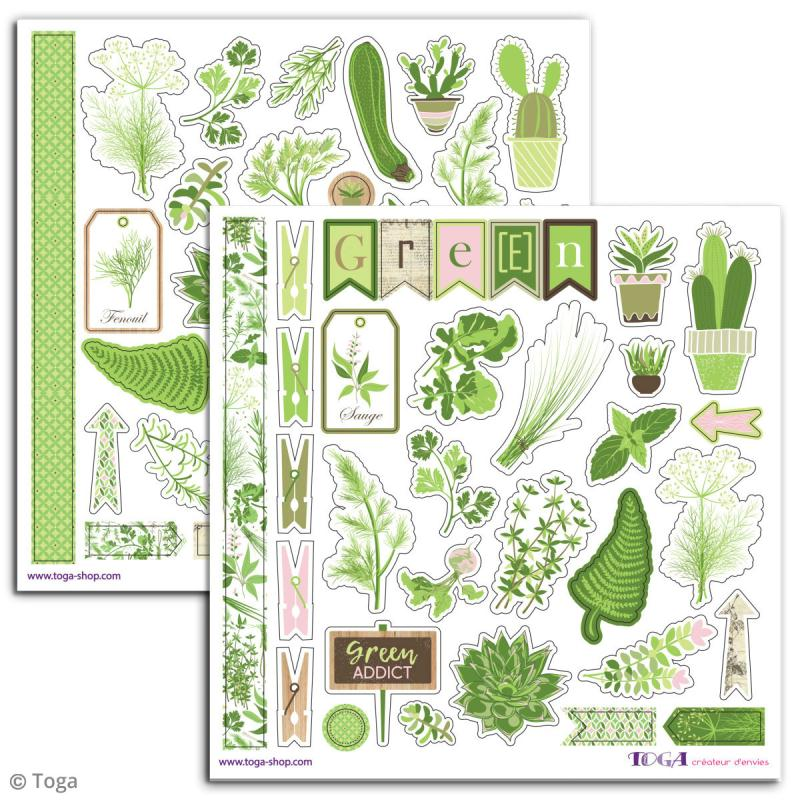 Stickers Toga - Oh my Green - 2 planches de 15 x 15 cm - Photo n°2
