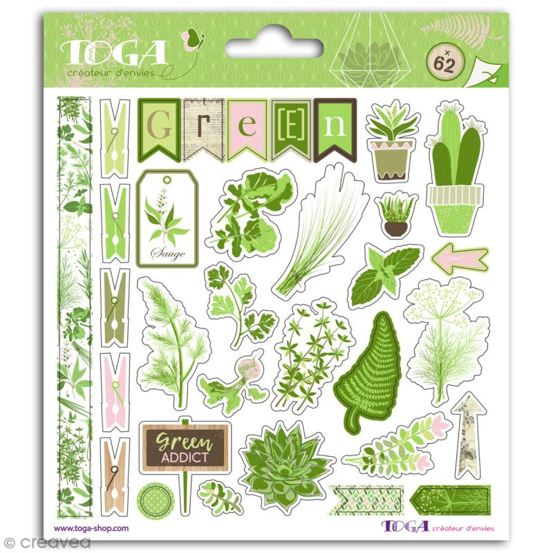 Stickers Toga - Oh my Green - 2 planches de 15 x 15 cm - Photo n°1